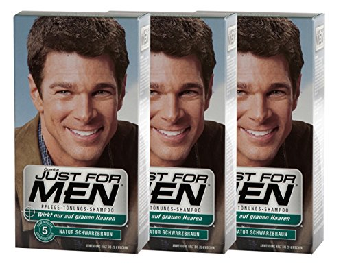 3x JUST FOR MEN Pflege-Tönungs-Shampoo schwarzbraun (je 66ml)