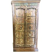 Mogul Antique Armoire Old Doors Rustic Furniture Iron Storage Cabinet Vintage Shabby Chic Decor