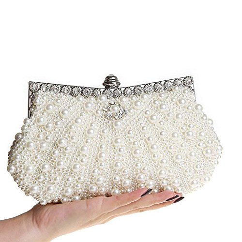 Clutch Ladies Women's Bag Clutch Bag Wedding Bag Evening Beige Rhinestone Pearl Handbag Bridal Clutch Elegant Bag qtIATFIw