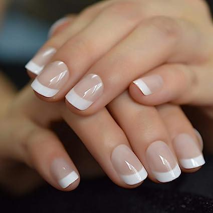 QULIN Puntas de uñas francesas blancas desnudas cortas naturales Uñas postizas falsas Prensa de gel UV: Amazon.es: Belleza