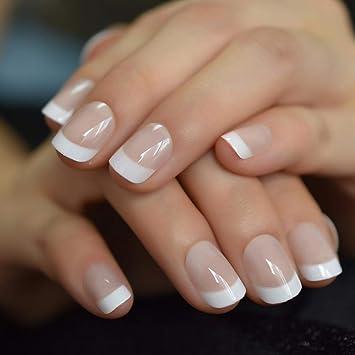 QULIN Puntas de uñas francesas blancas desnudas cortas naturales ...