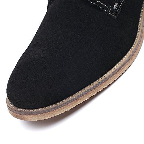 La Milano Pelle Scamosciata Stringate Stringate In Pelle Classiche Comode Scarpe Moderne In Punta Semplice Per Uomo In Pelle Scamosciata-1-nera