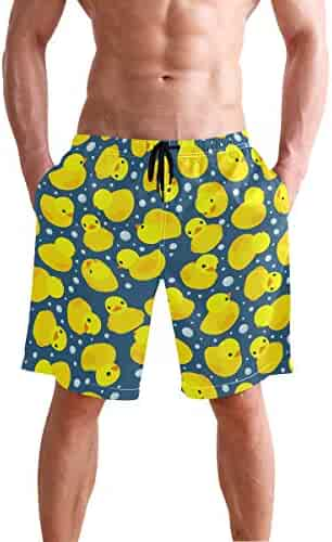 APPCLL Fashion Swim Trunks Mens Board Shorts Yellow Pineapple Gifts and Watermelon Red Quick Dry Shorts