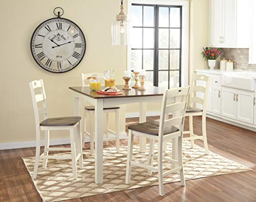 Signature Design by Ashley D335-223 Woodanville Counter Height Dining Room Table and Bar Stools (Set of 5) Cream/Brown by Signature Design by Ashley (Image #2)