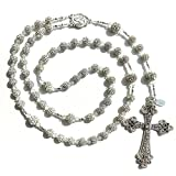 Sparkling Rosary Beads for Wedding Bride, Communion, Christmas, Baptism Gift Made with Genuine Crystals from Swarovski