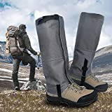 Leanking Leg Gaiters, Waterproof Snow Boot Gaiters 600D Anti-Tear Oxford Fabric Outdoor Waterproof Snow Leg Gaiters for Outdoor Hiking Walking Hunting Climbing Mountain (Gray, S)
