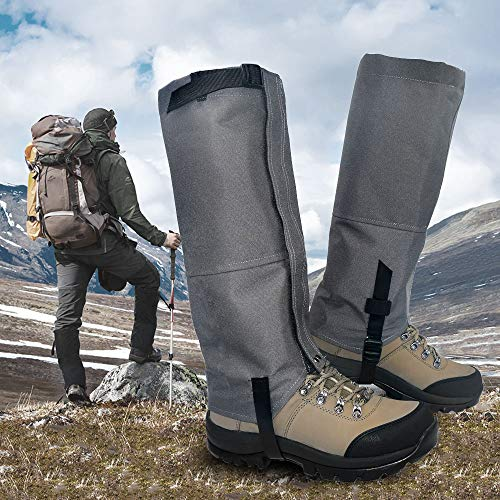 Leanking Leg Gaiters, Waterproof Snow Boot Gaiters 600D Anti-Tear Oxford Fabric Outdoor Waterproof Snow Leg Gaiters for Outdoor Hiking Walking Hunting Climbing Mountain (Gray, L)