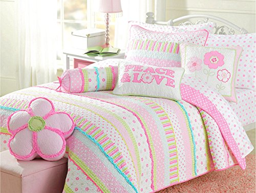 Cozy Line Home Fashions Pink Greta Pastel Polka Dot Green Blue Stripe Flower Print Cotton Bedding Quilt Set, Reversible Coverlet, Bedspread, Gifts for Kids Girls (Pastel Set, Full/Queen -3 Piece)