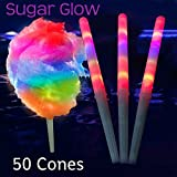 reusable cones - Sugar Glow 8 Flashing Modes LED Cotton Candy Cones - Reusable Cotton Candy Sticks for use in any Cotton Candy Maker and with any type of Cotton Candy Sugar (50)