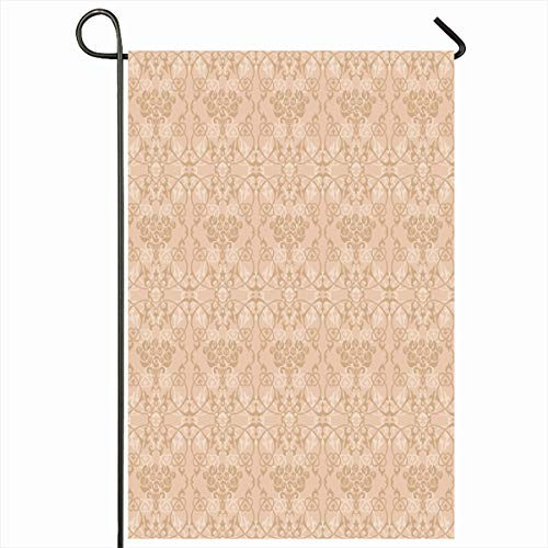 Ahawoso Outdoor Garden Flag 12x18 Inches Motive Brown Antique Roses Pale Beige Palette Abstract Damask Vintage Artistic Bouquet Classic Curl Two Sides Seasonal Home Decor House Yard Sign Banner
