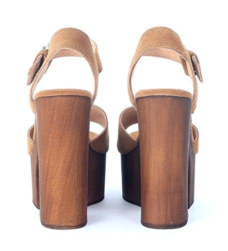 Sandalia Windsor Smith Jade en gamuza marrón cuero Marrón