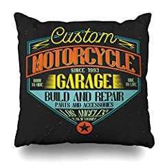 Ahawoso Throw Pillow Cover Square 20x20 Badge Vintage Label Lettering On Ride Motorcycle Build California Chopper Design Premium Home Decor Cushion Case Pillowcase1. Zipper glides smoothly and allows easy insertion and removal of pillo...