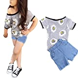 Outfits Coper 1Set Infant Toddler Baby Girl Chrysanth Print T-shirt+Shorts (7T)