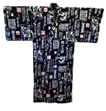 Black Cotton Japanese Kimono Yukata