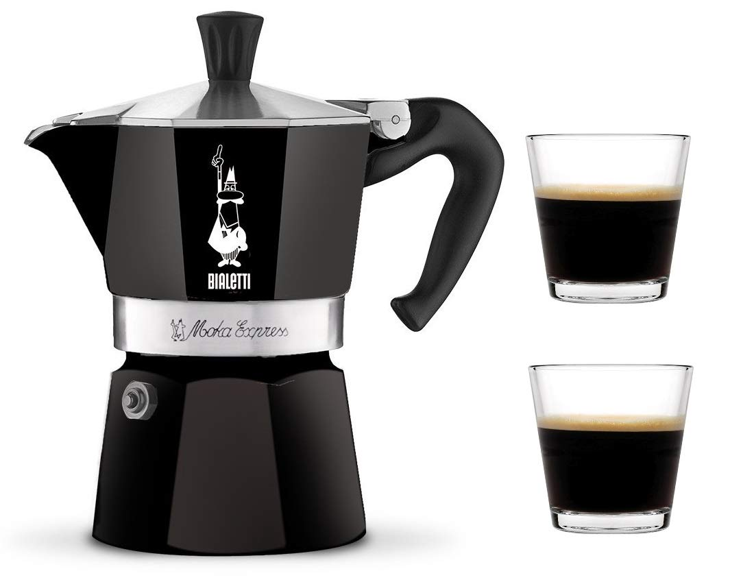 Bialetti Moka Express Stovetop Percolator (3-Cup, Black with 2 Glass Cup)