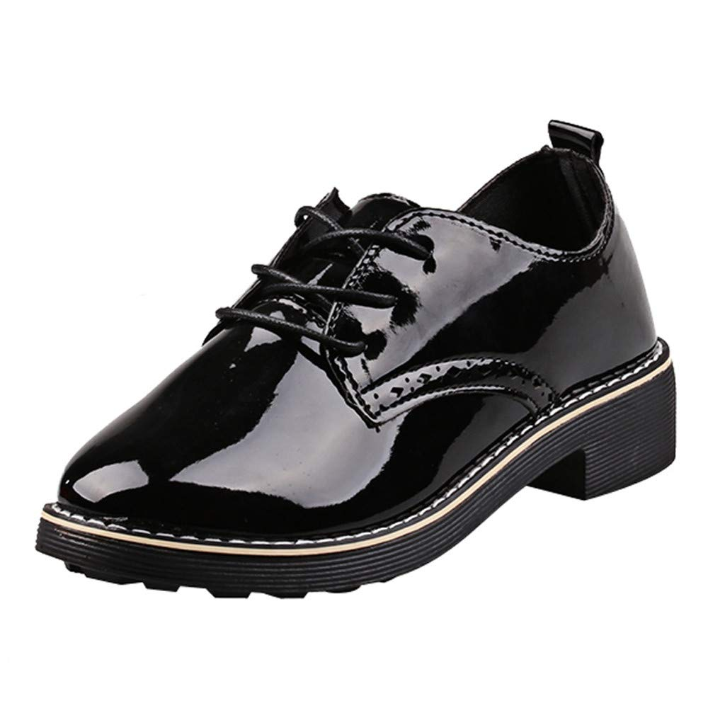 GIFC ❤️ Fashion Women Square Heel Shoes Martain Boots Patent Leather Round Toe Lace-Up Shoes