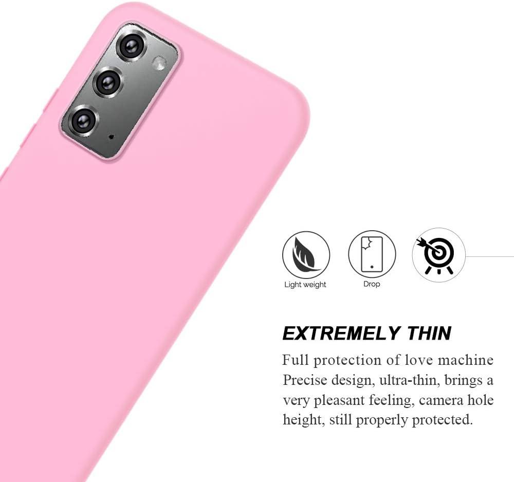 E-Lush Caso Ultra Delgado Flexible Gel TPU Goma Case Cover Cristal Templado Protector de Pantalla Funda para Samsung Galaxy Note 20 Carcasa Suave Silicona TPU, Verde 2 Pack