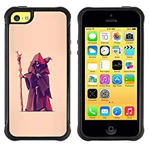 Paccase / Suave TPU GEL Caso Carcasa de Protección Funda para - Fortune Teller Witch Old Man Crow - Apple Iphone 5C