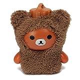 ELEGIANT 300ML Mini Portable Carrying Cute Cartoon Hot Water Bag Bottle Fluffy Plush Warm Brown