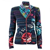 IVKO Short Lambswool Sweater wth Floral Pattern, Front Button Closure (US 8 - EUR 38, Navy Blue)