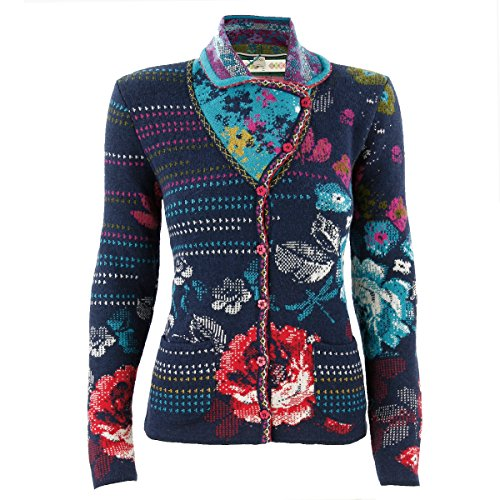 IVKO Short Lambswool Sweater wth Floral Pattern, Front Button Closure (US 8 - EUR 38, Navy Blue) by IVKO