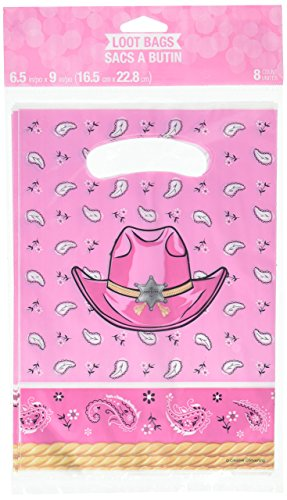 Creative Converting pink Bandana Cowgirl Party Favor Loot Bags (8 Count) -