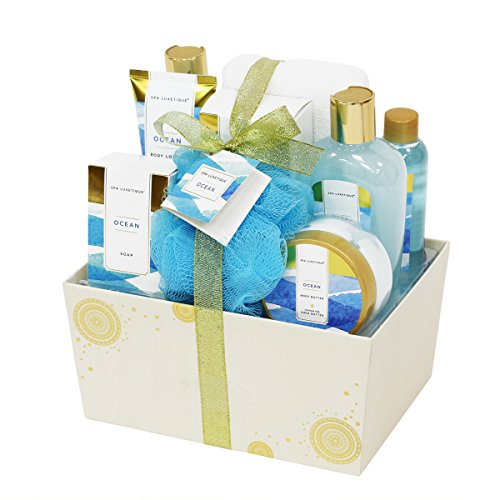 Spa Luxetique Spa Gift Basket with Refreshing Ocean Essential Oils, Premium 8pc Gift Baskets for Women, Decorative Box with Ribbon, Bath Gift Set Includes Shower Gel, Body Butter, Hans Soap & More!