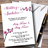 Pink Cherry Blossom Watercolour Personalized Wedding Invitations