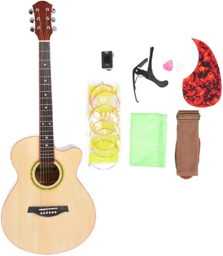 LOIKHGV Guitarras- Juego de Instrumentos Musicales de Guitarra acústica de 40 Pulgadas con afinador de Cuerda de Guitarra Capo para Instrumentos de Cuerda para Principiantes, A, 40 Pulgadas