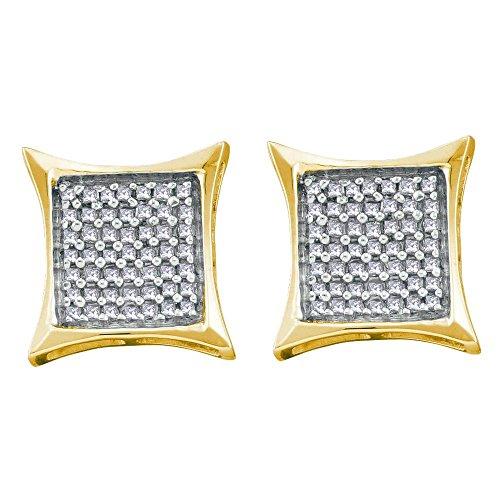 Kite Gold 14k (Roy Rose Jewelry 14K Yellow Gold Ladies Diamond Square Kite Cluster Earrings 5/8 Carat tw)
