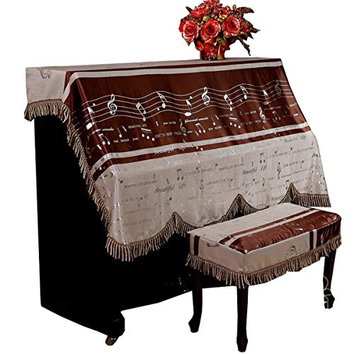 HongTeng European Piano Cover Musical Notes Fabric Thickened European Piano Full Cover Chocolate Color Suitable for Most Piano Sizes (Size : Single Stool Cover.)