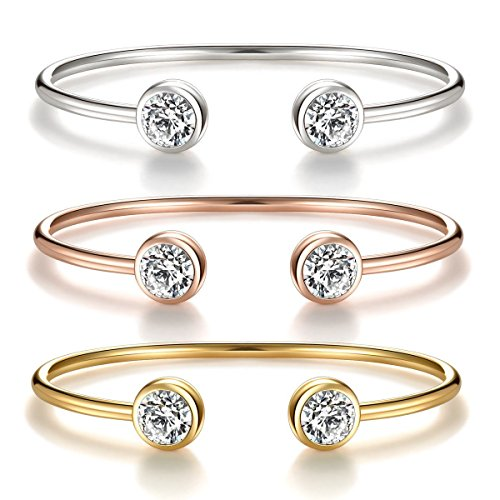 """You & Me"" Inspirational Open Cuff Bangle Bracelets Set – Cubic Zirconia Charm Adjustable Stackable Bangles Gift for Best Friends, Sisters and Mother & Daughter (Friendship 3 pcs bracelets ()"