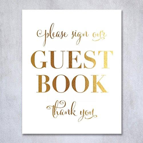 Guest Book Gold Foil Poster Sign Art Print Wedding Reception (Frame Memory Book)