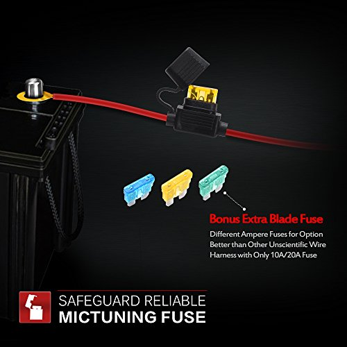 MICTUNING-HD-300w-LED-Light-Bar-Wiring-Harness-Fuse-40Amp-Relay-ON-OFF-Waterproof-Switch2Lead