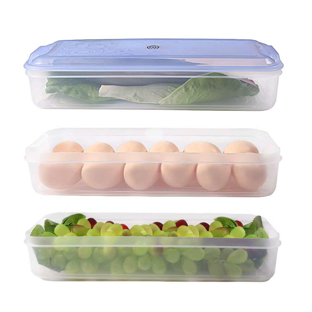 Freezer Storage Container with Lid, 3 Layers Plastic Freezer Storage Container, 77L Food Storage Container for Kitchen and Home - Protect and Keep Fresh, 12.52 x 4.8 x 6.30 Inches