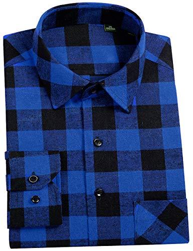 DOKKIA Men's Dress Button Down Buffalo Plaid Checked Long Sleeve Flannel Shirts (Blue Buffalo Check, ()