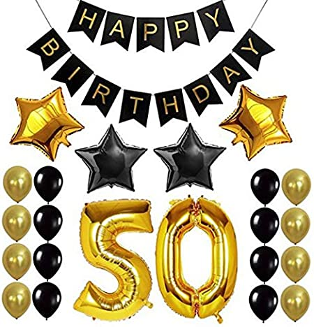 30 Years Old Birthday Party Foil Balloon Number Balloon Star Balloon Black Gold Round Balloon Birthday Party Banner for Birthday Party Background Decoration