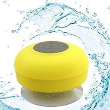 Soundworx Mini Bocina AMARILLA Resistente al Agua con Bluetooth 3.0, Portable con Manos Libres y Microfono, 6hrs de reproduccion, para telefono, laptop, PC, Tableta y los dispositivos con Bluetooth