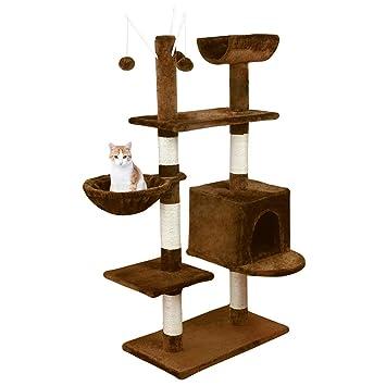 Wellhome Arbol Rascador para Gatos Escalador Actividades para Gato de Sisal con Hamaca Bolas 131cm Clásico Marrón