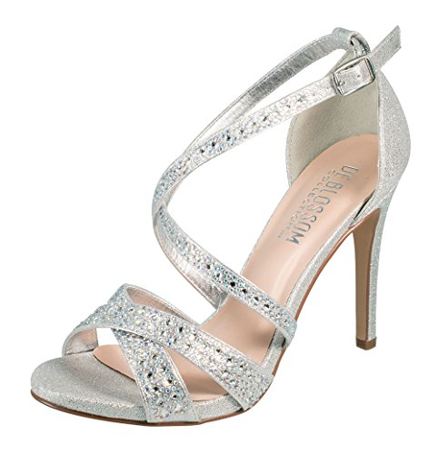 Dance Strappy Sandals (Isabella-11X Rhinestone Embellished Crisscross Strappy High Heel Party Dress Sandal Silver 8)