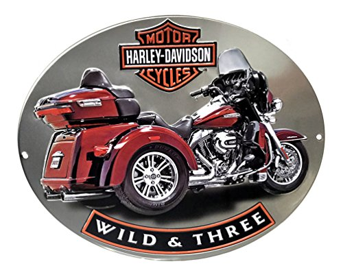 Harley-Davidson Wild & Three Motorcycle Embossed Tin Sign, 15.75 x 13 in ()