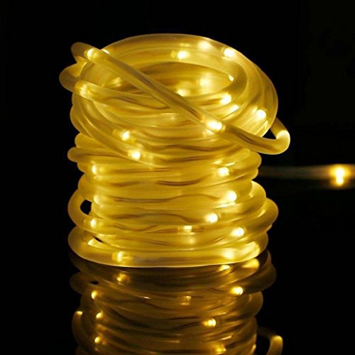tdoor,LIYUDL Fairy Rope String lights Waterproof 39.4FT 100 LED Rope Tube Strip Lights For Christmas Wedding Halloween Patio Party Decoration (Warm White) (Exterior Tube)