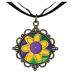 Chicforest Bronze Retro Style Quilted Round Flower Pendant