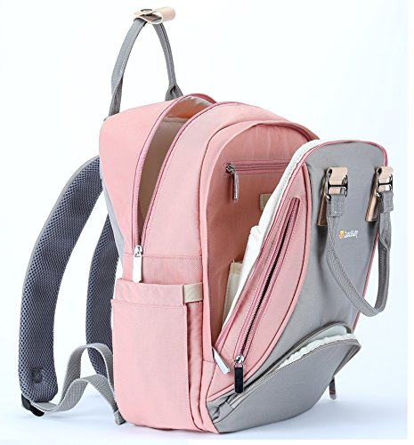 Diaper Bag Backpack-Multi-Function Maternity Nappy Bag Pañaleras Modernas Diaper Bags for Girls,Large Capacity,Stylish and Durable,Pink-Gray