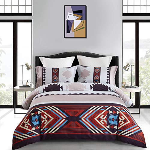 KINBEDY 4-Piece Tencel Cotton Ethnic Bohemian Lattice Nice and Vivid Color Bedding Sets,Morocco Boho Chic Stripe Pattern Duvet Cover Sets with Flat Sheets Shams Black Brown Queen Size, No Comforter. - Morocco Comforter Set