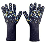 Heat Resistant Grill Gloves,Wrist and Forearm Protection Cooking Gloves for BBQ,Grilling,Frying, Baking(1 Pair)