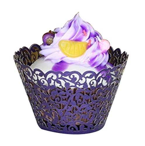 [Bestwoohome Hollow Out Cupcake Wrappers Wedding Birthday Baking Cake Paper Cups (Pack of 50, Dark] (Easy Halloween Cold Appetizers)