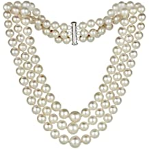 """Sterling Silver Graduated 4-8.5mm Freshwater Cultured Pearl 3-rows Choker Necklace, 16"""""""