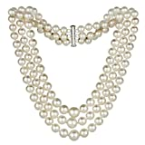 Sterling Silver Graduated 4-8.5mm White Freshwater Cultured Pearl 3-rows Choker Necklace, 16''