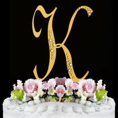 RaeBella New York Swarovski Crystal Sparkle Cake Top Topper Gold LETTER K (SMALL)